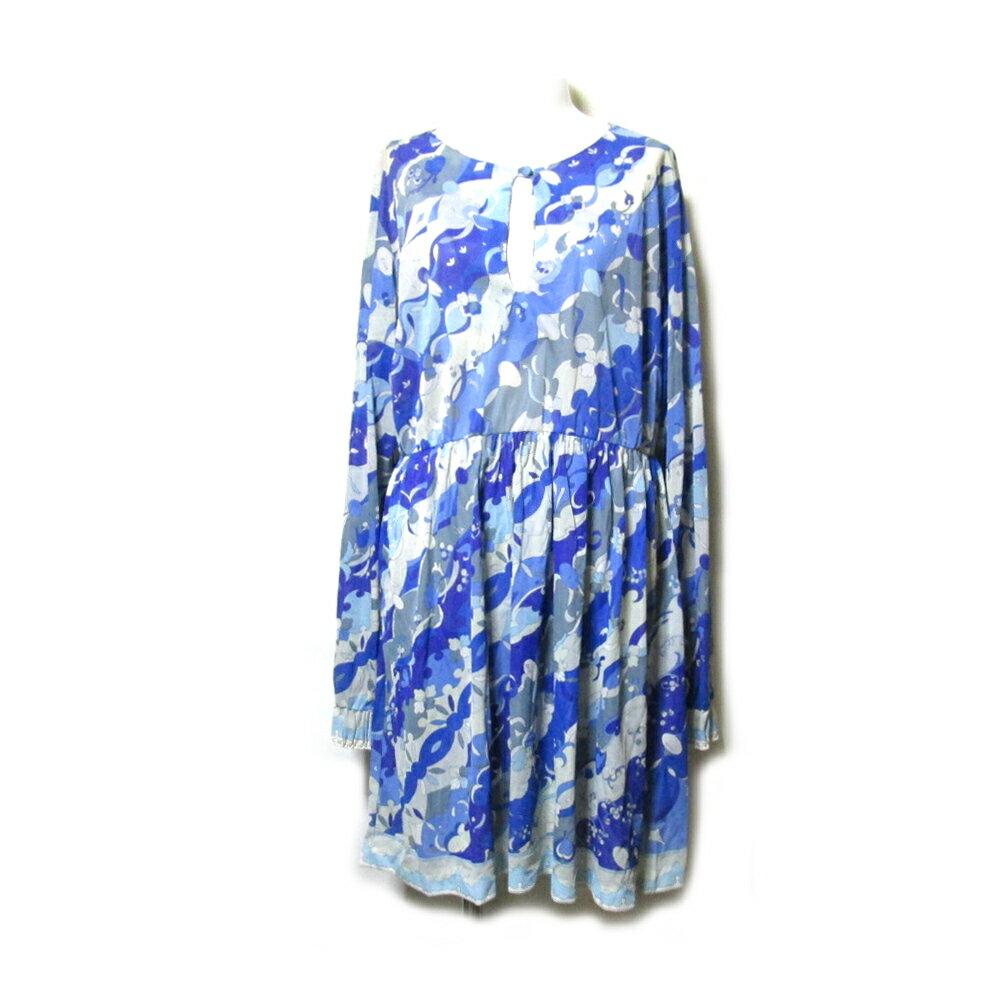 Vintage Emilio Pucci ヴィンテージ エミリオプッチ 「M」 プッチファブリックワンピース (ブルー ドレス イベント) 105343 【中古】
