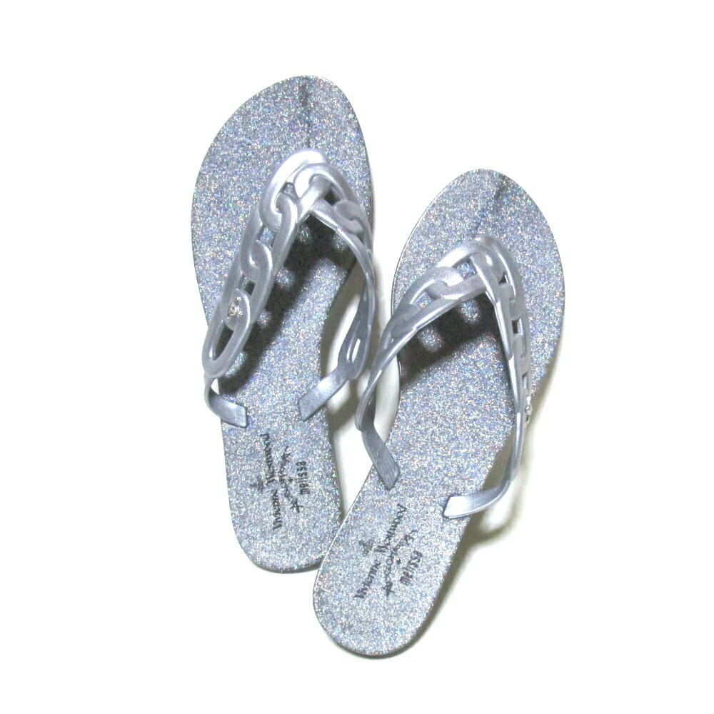 美品 Anglomania Vivienne Westwood×melissa アングロマニア ヴィヴィアンウエストウッド×メリッサ 「24.0」 フラットチェーンサンダル (シルバー 靴 ビーチ シューズ) 105422 【中古】