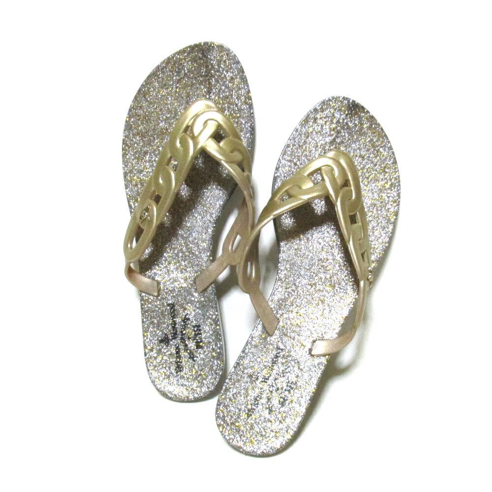 美品 Anglomania Vivienne Westwood×melissa アングロマニア ヴィヴィアンウエストウッド×メリッサ 「24.0」 フラットチェーンサンダル (ゴールド 靴 ビーチ シューズ) 105423 【中古】