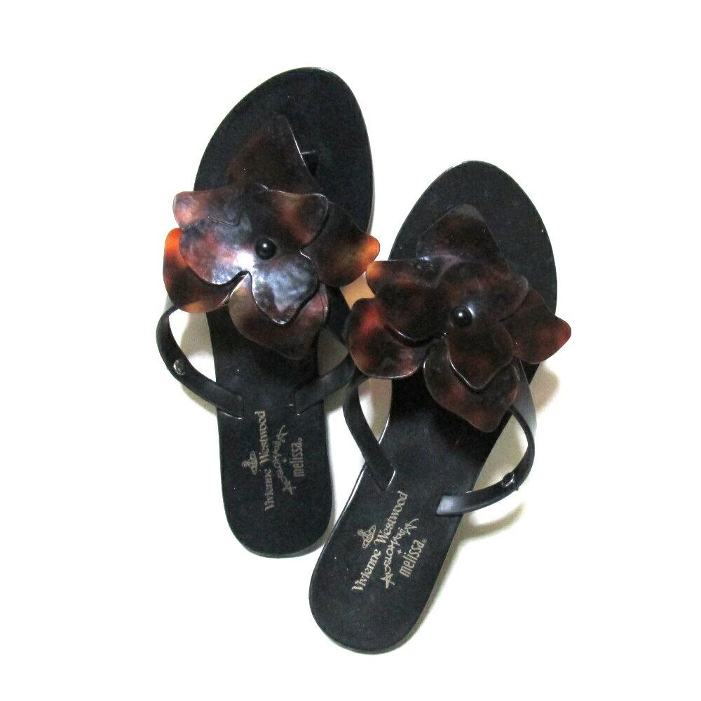 Anglomania Vivienne Westwood×melissa アングロマニア ヴィヴィアンウエストウッド×メリッサ 「23.5」 フラットフラワーサンダル (黒 ブラック 靴 ビーチ シューズ) 105424 【中古】