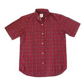 THE NORTH FACE ザノースフェイス タータンチェックシャツ (赤 半袖 ボタンダウン) 105635 【中古】