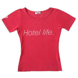 HYSTERIC GLAMOUR ヒステリックグラマー Hotel life Tシャツ (ストレッチ 半袖 ピンク) 105662 【中古】