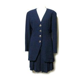 Karl Lagerfeld カール ラガーフェルド 「38」 金ボタンセットアップスーツ (紺 ネイビー プリーツスカート) 105696 【中古】