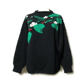 Vintage KENZO ヴィンテージ ケンゾー ジャポネスクニットセーター (黒色 高田賢三 花柄) 106696 【中古】
