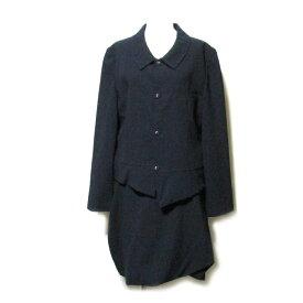 美品 tricot COMME des GARCONS トリコ コムデギャルソン 「M」 1990 アシンメトリーデザインセットアップスーツ (紺 ネイビー ギャバジン) 106722 【中古】