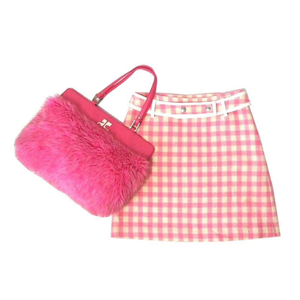 難有 [SALE] courreges クレージュ ベルト付スカート、ファーバッグ 2点セット (ピンク 鞄 まとめて) 107014 【中古】