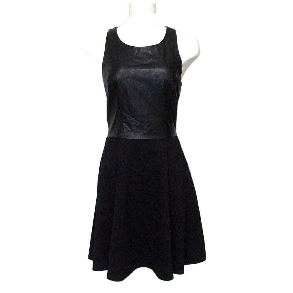 美品 forever21 フォーエバー21 レザードレープワンピース (黒 ドレス フォーマル) 107020 【中古】