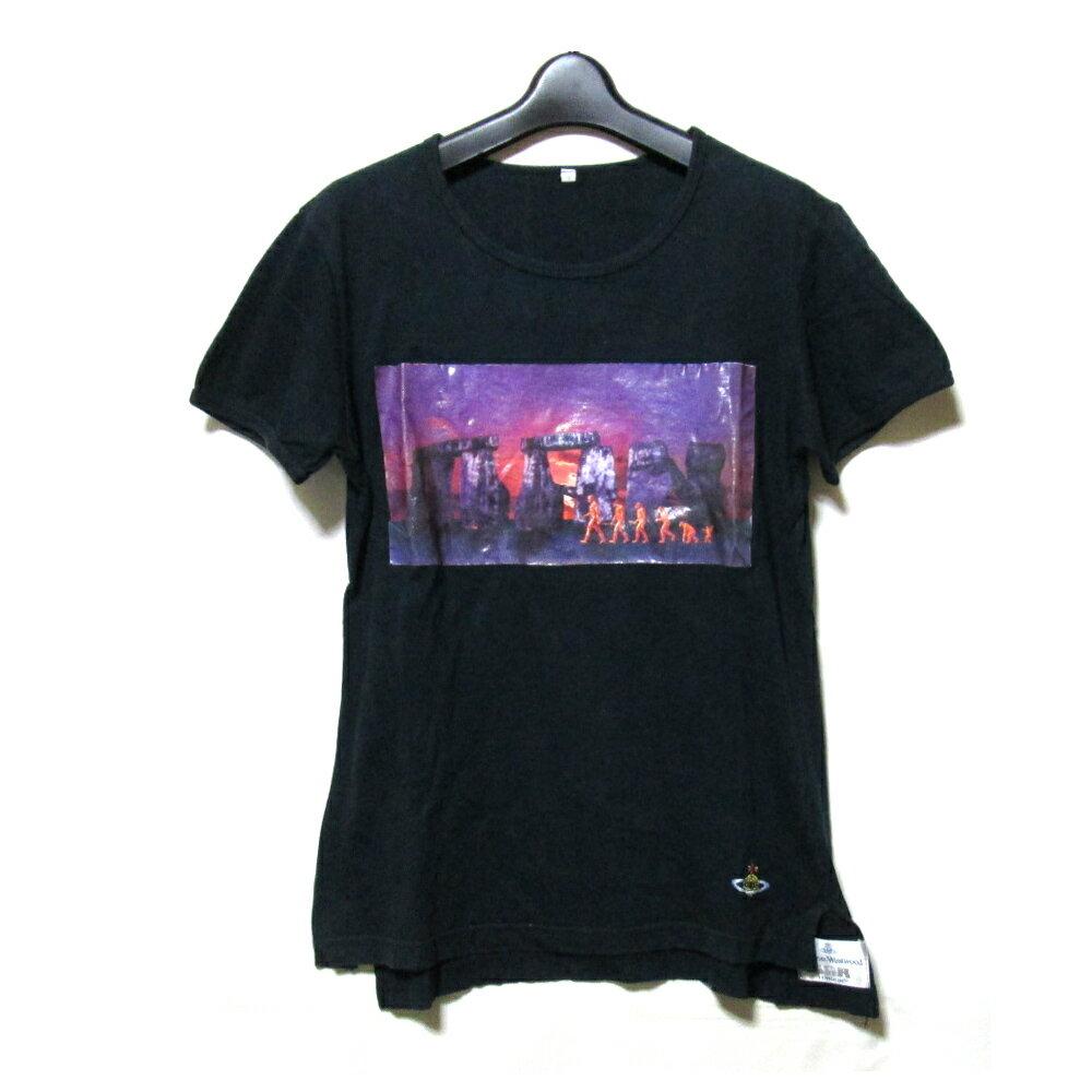 廃盤 Vivienne Westwood MAN ヴィヴィアンウエストウッド マン 「S」 イタリア製 ストーンヘンジTシャツ (黒 半袖) 107155 【中古】