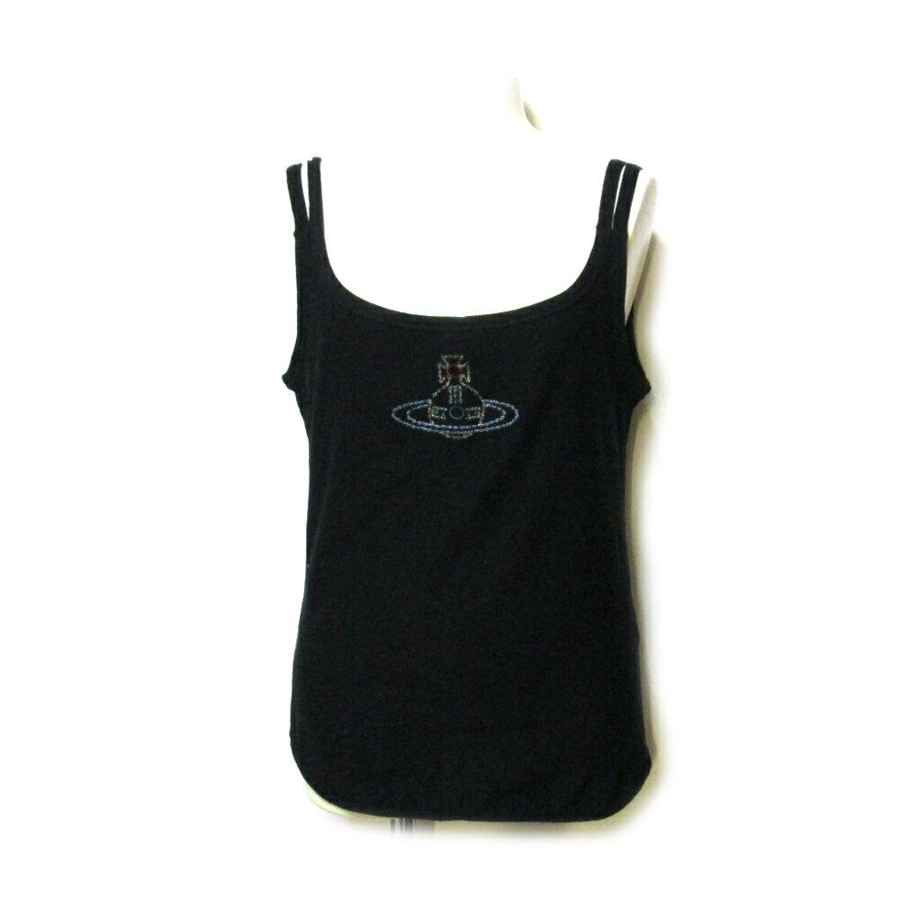 Vivienne Westwood RED LABEL ヴィヴィアンウエストウッド レッドレーベル 「3」 ジャイアントカラーオーブタンクトップ (黒 ORB Tシャツ) 107293 【中古】