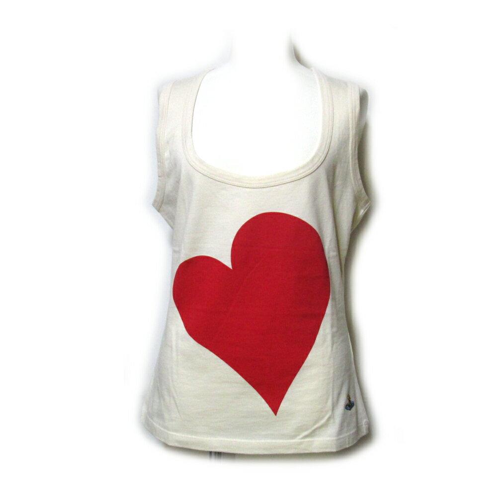 【新古品】 Vivienne Westwood RED LABEL ヴィヴィアンウエストウッド レッドレーベル 「L」 イタリア製 ラブタンクトップ (半袖 ハート ノースリーブ Tシャツ) 107302 【中古】