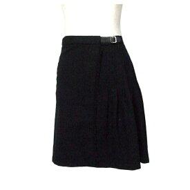 SHIPS シップス プリーツ巻きスカート (黒 ブラック) 107590 【中古】
