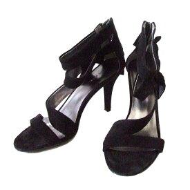 Nine West ナインウエスト スエードレザーヒールサンダル (黒 シューズ 皮 革 靴 日本製 Made in Japan ) 108515 【中古】