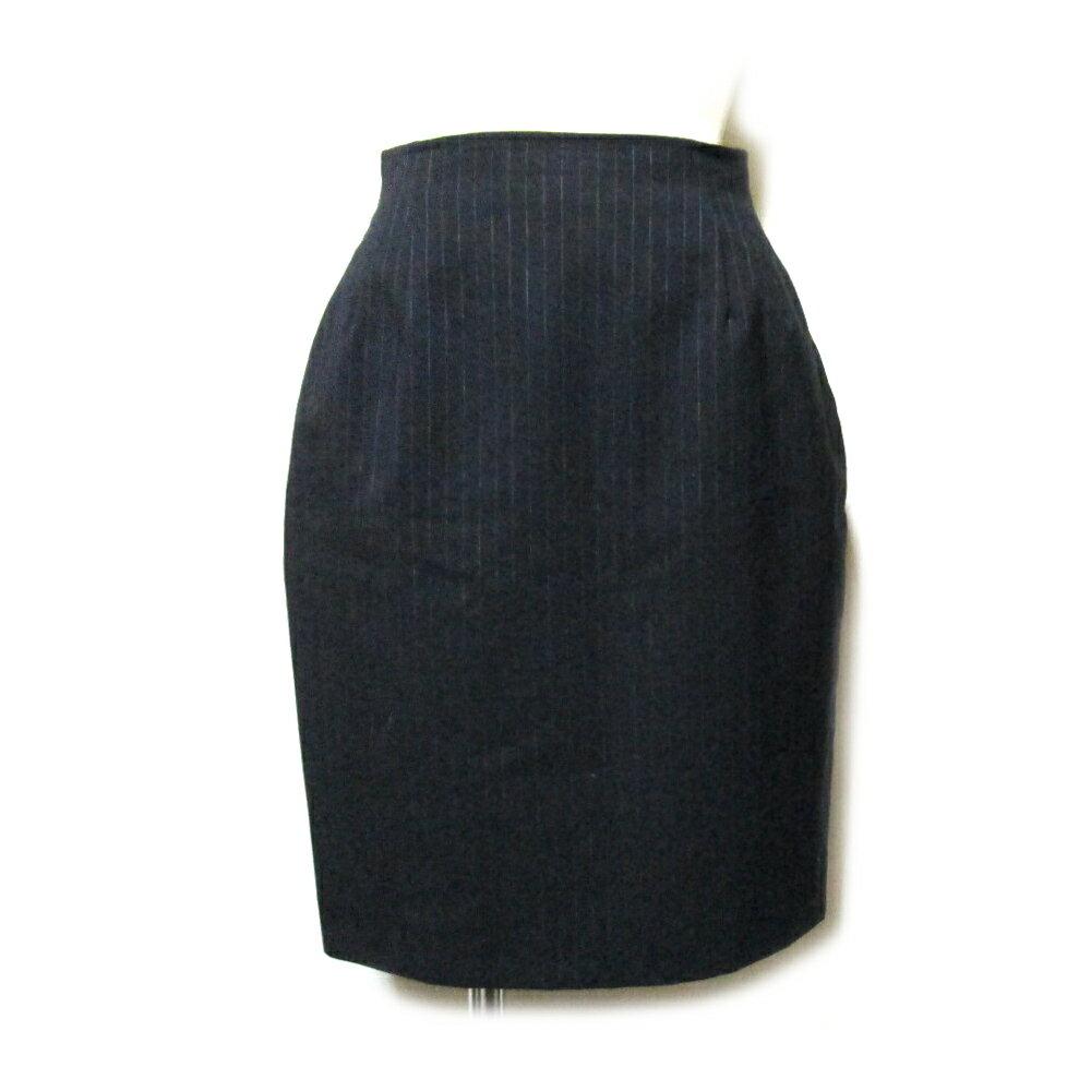 Jean Paul GAULTIER ジャンポールゴルチエ 「40」 ピンストライプラップスカート (黒 ゴルチェ 巻きスカート) 108671 【中古】