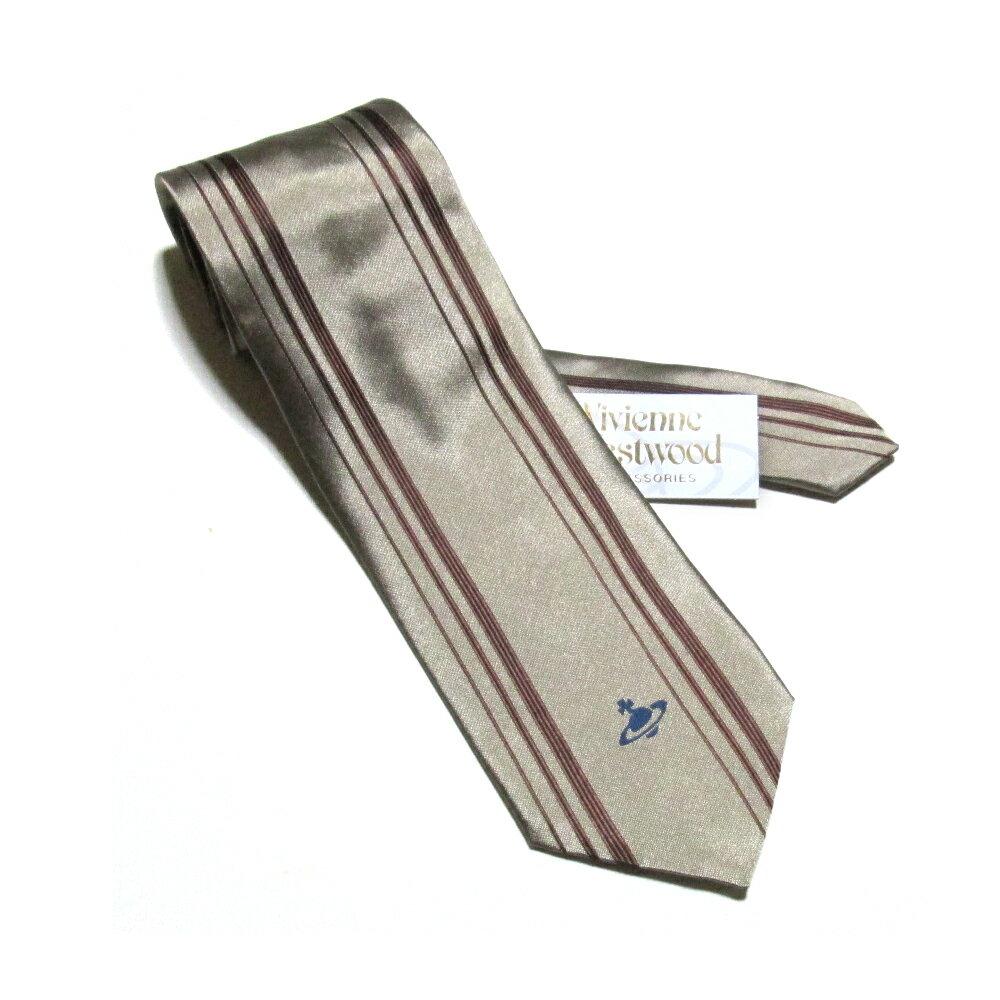 美品 廃盤 Vivienne Westwood ヴィヴィアンウエストウッド イタリア製ストライプオーブネクタイ (ORB シルク 絹) 109190 【中古】