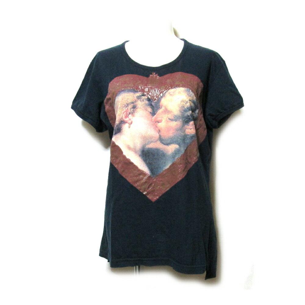 Vivienne Westwood ヴィヴィアンウエストウッド 「S」 イタリア製 キッシングTシャツ (黒 ユニセックス) 109401 【中古】