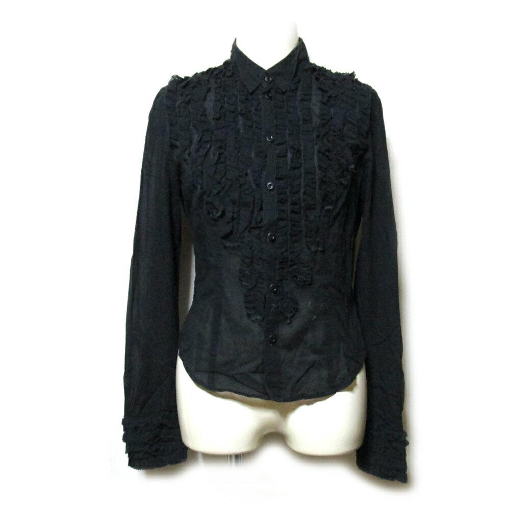 Jean Paul GAULTIER ジャンポールゴルチエ 「40」 フリルブラウス (黒 シャツ ゴルチェ) 109959 【中古】