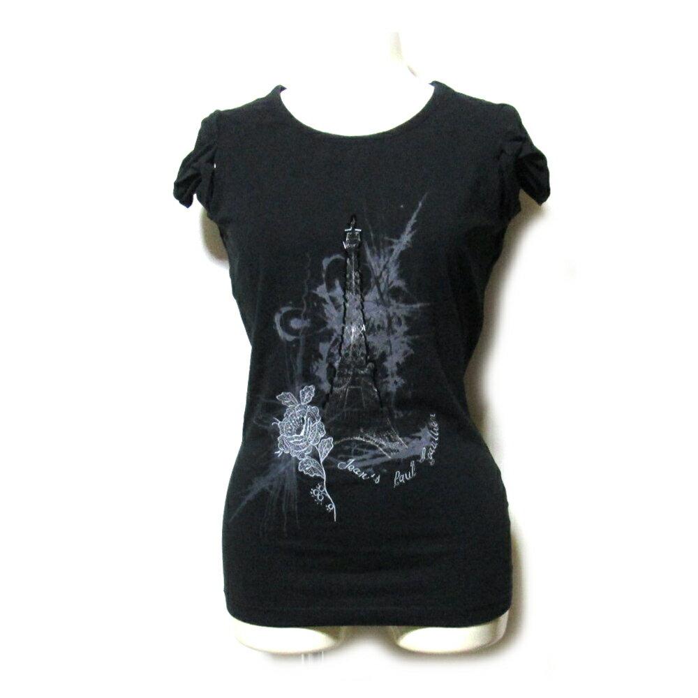 Jean Paul GAULTIER ジャンポールゴルチエ 「XS」 エッフェル塔ビーズ装飾Tシャツ (ゴルチェ 黒 半袖 ストレッチ) 109981 【中古】