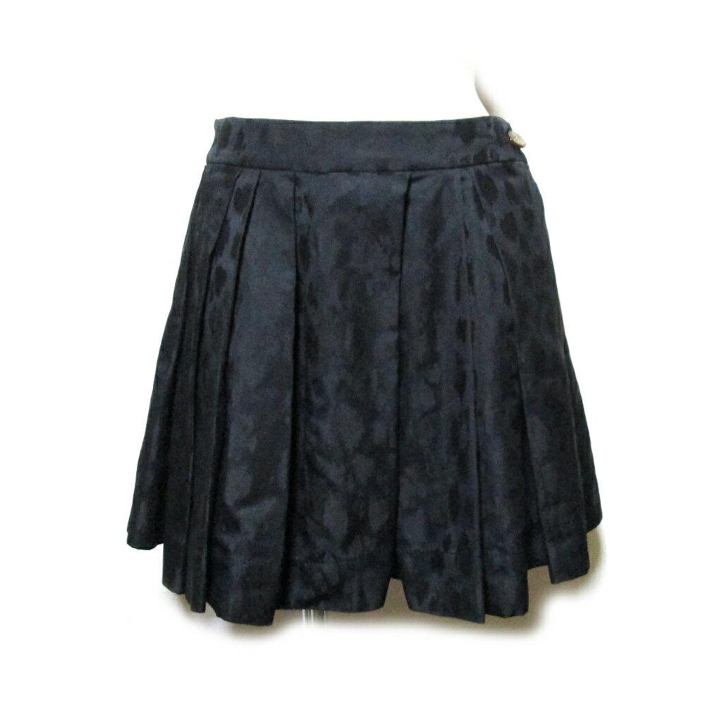 美品 Vivienne Westwood RED LABEL ヴィヴィアンウエストウッド レッドレーベル 「1」 レオパードプリーツスカート (黒 ) 110136 【中古】