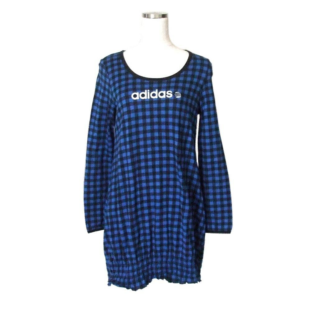 adidas アディダス チェック柄バルーンワンピース (青 黒 長袖 Tシャツ) 111427 【中古】