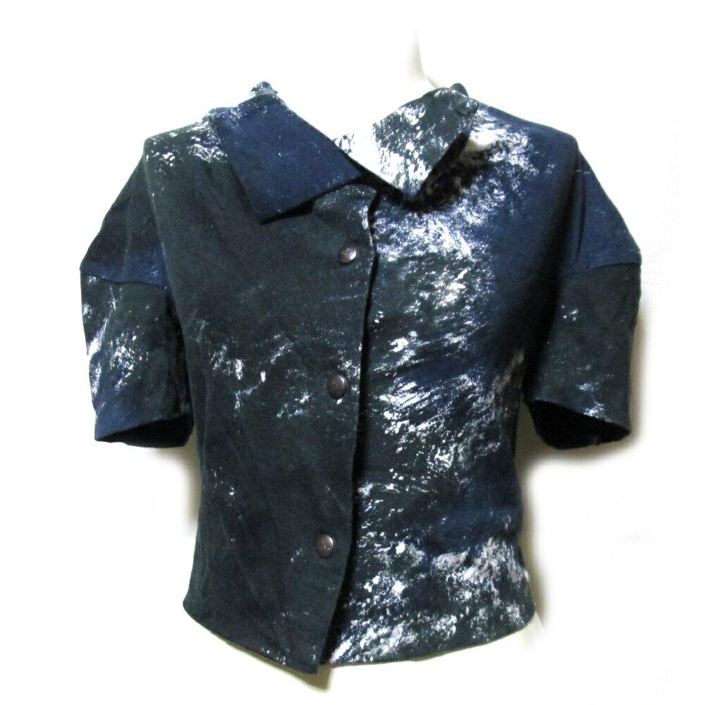 Vivienne Westwood GOLD LABEL ヴィヴィアンウエストウッド ゴールドレーベル 「XS」 イタリア製 アースブラウス (紺 カットソー 半袖 シャツ) 111746 【中古】