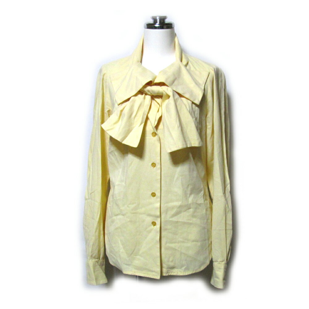 Vivienne Westwood ヴィヴィアンウエストウッド 「I」 イタリア製 リボンカラーブラウス (イエロー 変形 黄色 立体裁断) 111753 【中古】