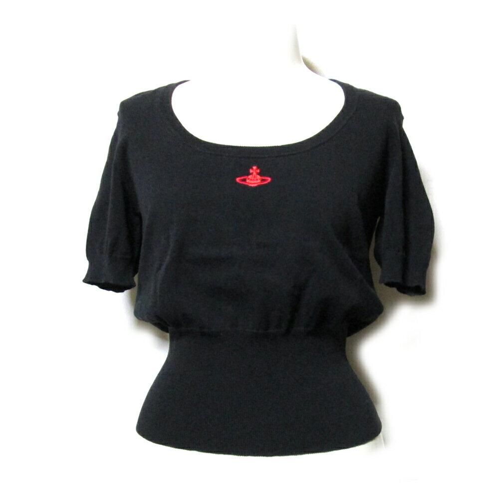 Vivienne Westwood RED LABEL ヴィヴィアンウエストウッド レッドレーベル 「2」 ワンオーブ半袖ニットセーター (黒 コットン Tシャツ) 111773 【中古】