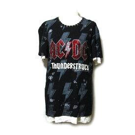 AC/DC エーシー ディーシー 「5」 レイヤードラインストーンTシャツ (黒 半袖 SANKO) 111841 【中古】