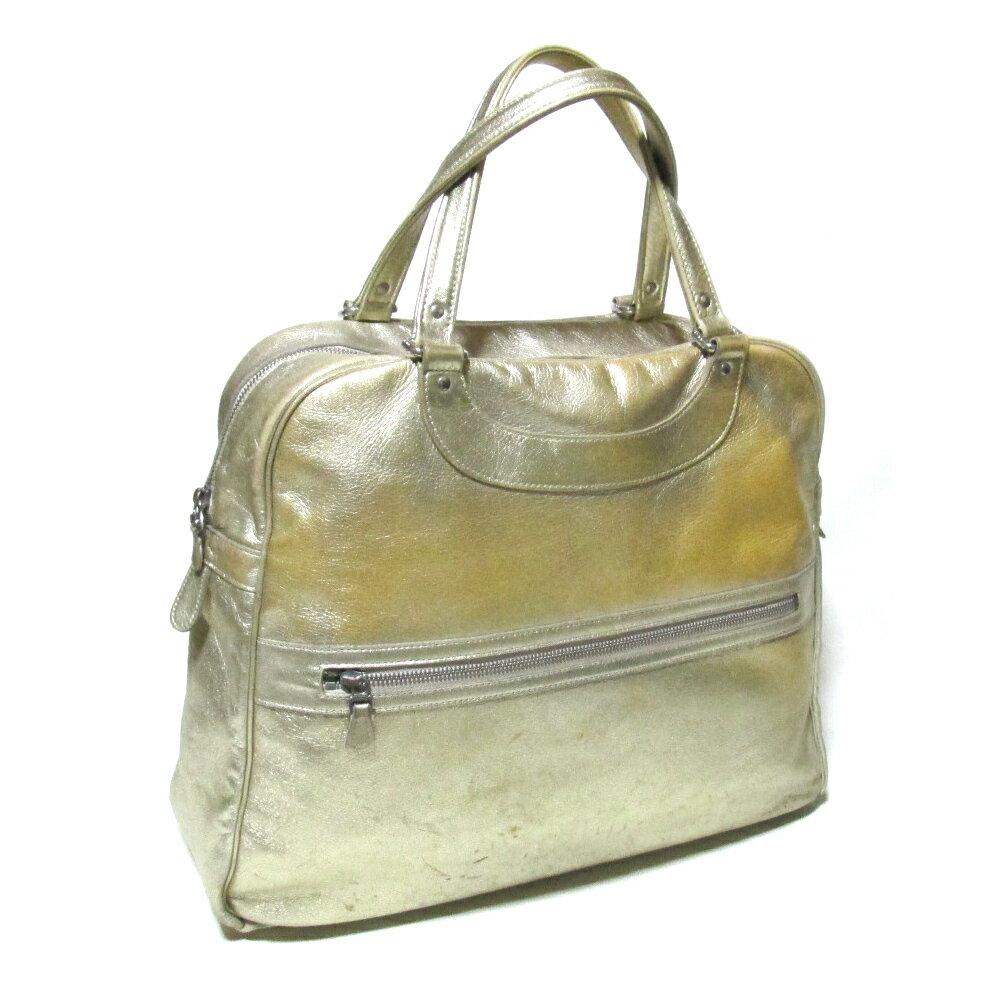 JACQUES LE CORRE ジャック・ル・コー フランス製 ゴールドレザーボストンバッグ (ジャックルコー 金色 革 皮 鞄) 112469 【中古】