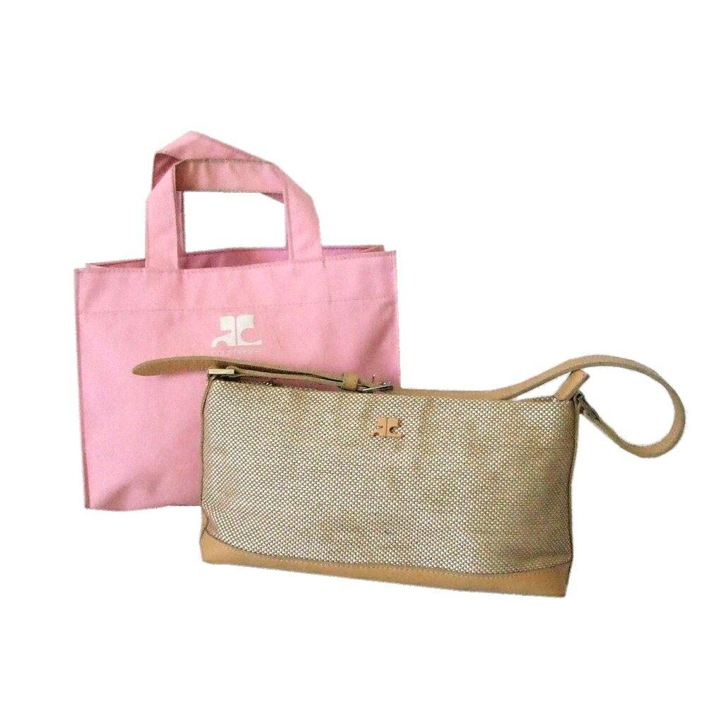 courreges クレージュ クラシックハンドバッグ 2点セット (ベージュ 鞄 ピンク トートバッグ) 112625 【中古】