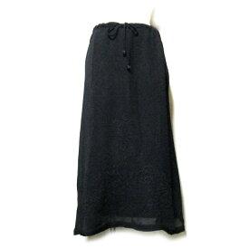 FENDI フェンディ 「42」 レイヤードレース刺繍ロングスカート (黒 マキシ丈) 112690 【中古】