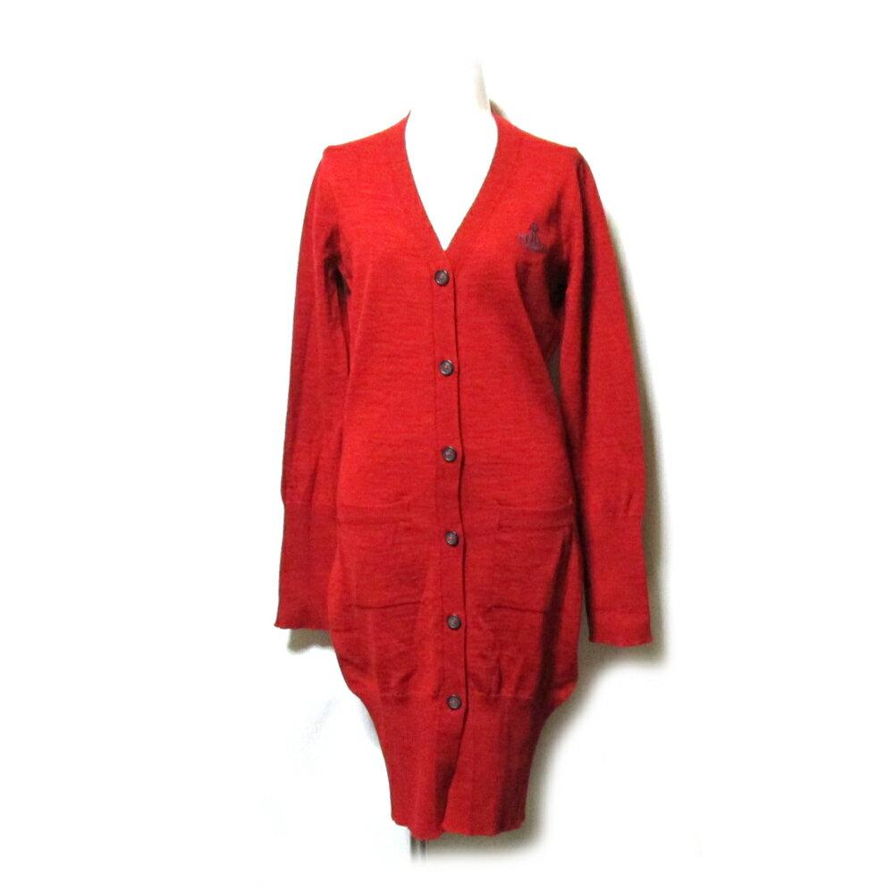 美品 Anglomania Vivienne Westwood アングロマニア ヴィヴィアンウエストウッド 「S」 イタリア製 ワンオーブロングニットカーディガン (エンジ 赤 ボルドー ORB) 112831 【中古】