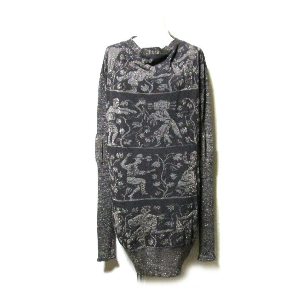 【新古品】 Anglomania Vivienne Westwood アングロマニア ヴィヴィアンウエストウッド 「L」 イタリア製 壁画ロングニットセーター (チュニックワンピース) 112996 【中古】