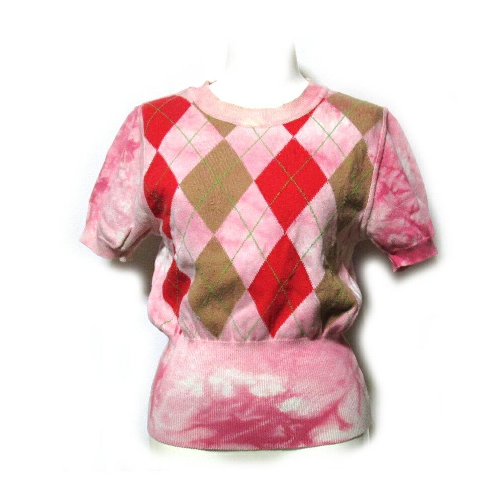 Anglomania Vivienne Westwood アングロマニア ヴィヴィアンウエストウッド 「42」 イタリア製 アーガイルコットンセーター (ピンク 半袖 橙染 斑締め Tシャツ) 112997 【中古】