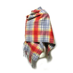 Vivienne Westwood維維恩維斯特伍德羊絨100%彩色方格圖案羊毛圍巾(紅紅RED)112999