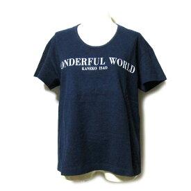 Vintage old Wonderful World ヴィンテージ オールド ワンダフルワールド フロントロゴTシャツ (半袖 紺 PINK HOUSE ピンクハウス KANEKO ISAO カネコイサオ) 113132 【中古】