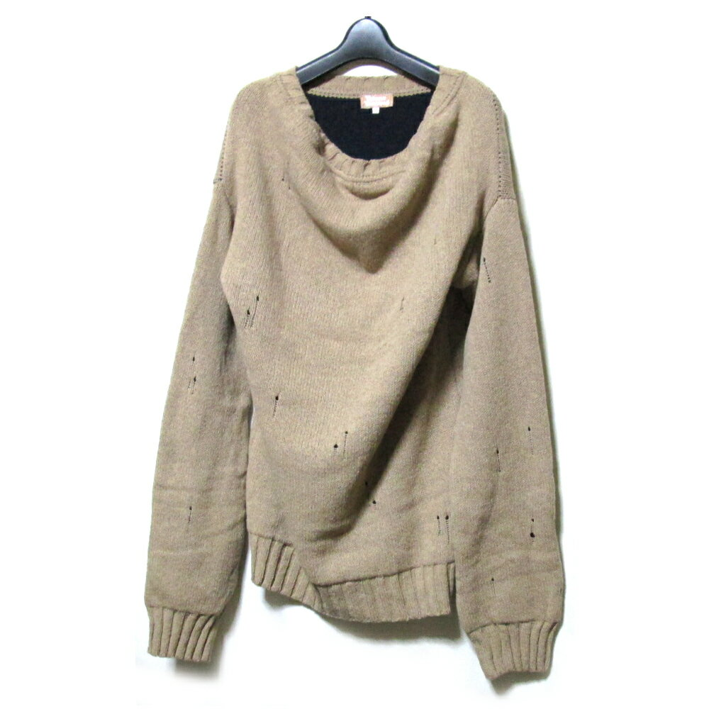 美品 Vivienne Westwood ヴィヴィアンウエストウッド 「XL」 イタリア製 クラッシュ加工ワイドニットセーター (ユニセックス チュニックワンピース) 113168 【中古】