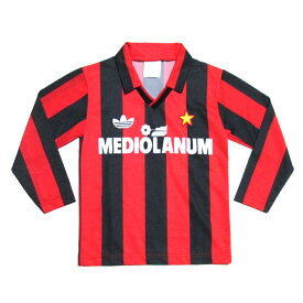 Vintage old adidas ヴィンテージ オールド アディダス イタリア製 Mediolanumキッズゲームシャツ (サッカー ジャージ 子供服 長袖 3本ラインAC Milan 1987-1991MADE IN ITALY) 113907 【中古】