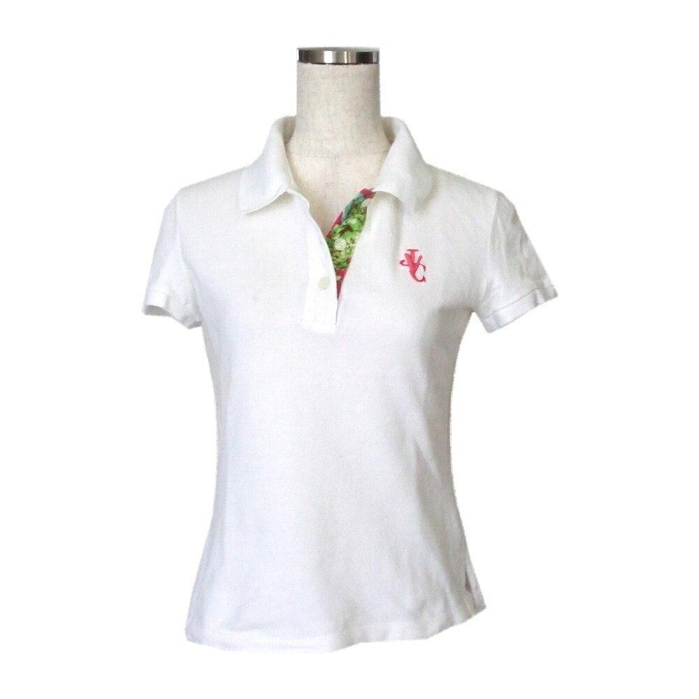 Versace ヴェルサーチ イタリア製 ワンポイントポロシャツ (白 半袖 Tシャツ 鹿の子素材 ジャンニ ヴァルサーチ ベルサーチ ) 114340 【中古】