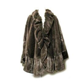 美品 un beau reve アンボレーブ フリルファーマントジャケット (茶色 ブラウン コート ジャケット) 114863 【中古】