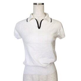 MAX MARA マックスマーラー イタリア製 半袖ニットセーター (白 Tシャツ ポロシャツ) 115396 【中古】