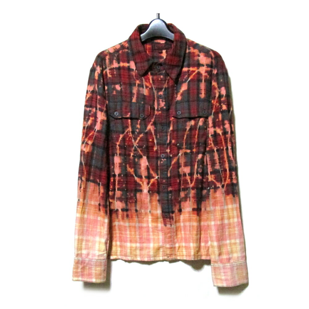 TRIPP nyc トリップニューヨークシティ 「S」 ブリーチ加工ネルシャツ (赤 ユニセックス パンク) 115489 【中古】