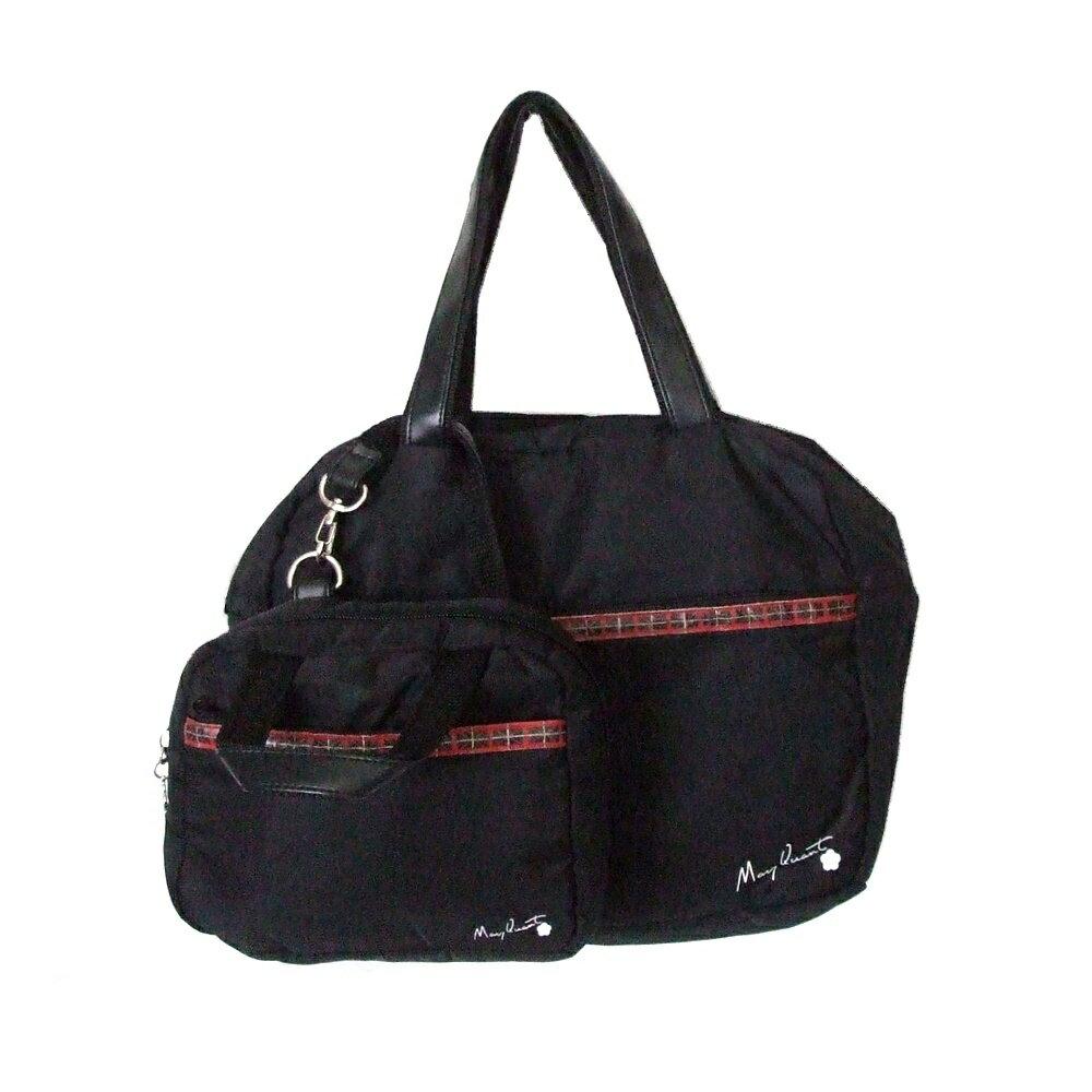 MARY QUANT マリークヮント プレーンバニティーバッグ ポーチ付 (黒 鞄 ロンドン 化粧ポーチ 2点セット まとめて) 115588 【中古】