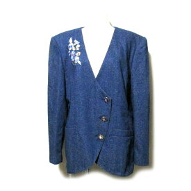 Vintage LEONARD ヴィンテージ オールド レオナール フラワー刺繍マオカラージャケット (ブレザー 紺 ナイビー ビンテージ) 115767 【中古】