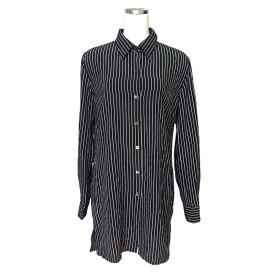 agnes b. アニエスベー 定番ストライプシャツ.ブラウス (黒 ワイドデザイン フランス) 116313 【中古】