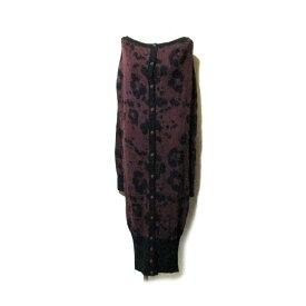美品 Vivienne Westwood RED LABEL ヴィヴィアンウエストウッド レッドレーベル 「2」 2wayレオパードロングニットワンピース.カーディガン   (黒 エンジ コート ジャケット ユニセックス) 116742 【中古】