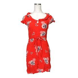 美品 American Eagle アメリカンイーグル ボタニカルワンピース (赤 ドレス 半袖 花柄 フラワー) 117148 【中古】