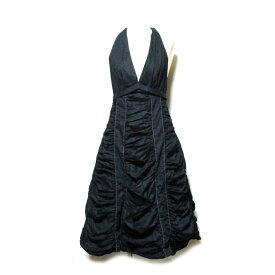 MARC JACOBS マークジェイコブス 「2」 フリルドレープワンピース (黒 ブラック ドレス) 118505 【中古】
