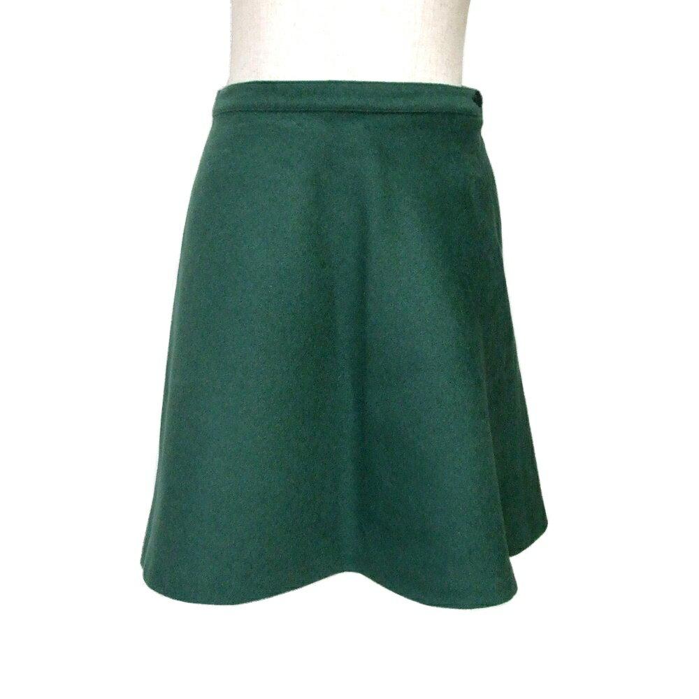 美品 agnes b. アニエスベー 定番カシミヤ入スカート (グリーン 緑) 118969 【中古】
