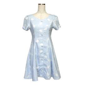 美品 titty&Co. ティティーアンドコー チューリップモノグラムワンピース (水色 半袖 ドレス ) 119126 【中古】