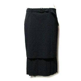 美品 JeanPaulGAULTIER ジャンポールゴルチエ 「40」 イタリア製 レイヤードプリーツスカート (黒 ブラック ゴルチェ ギャバジン インポート) 119477 【中古】